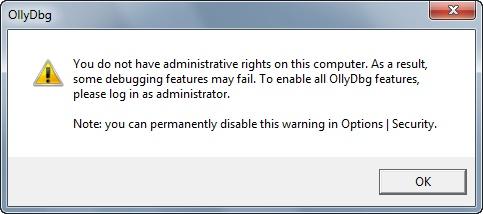 Debugging eingeschränkt wegen fehlender Admin-Rechte